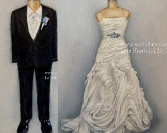 CUSTOM Bride and Groom Illustration Painting in OIL by LARA 11x14 Wedding Portrait Couple Save the Date