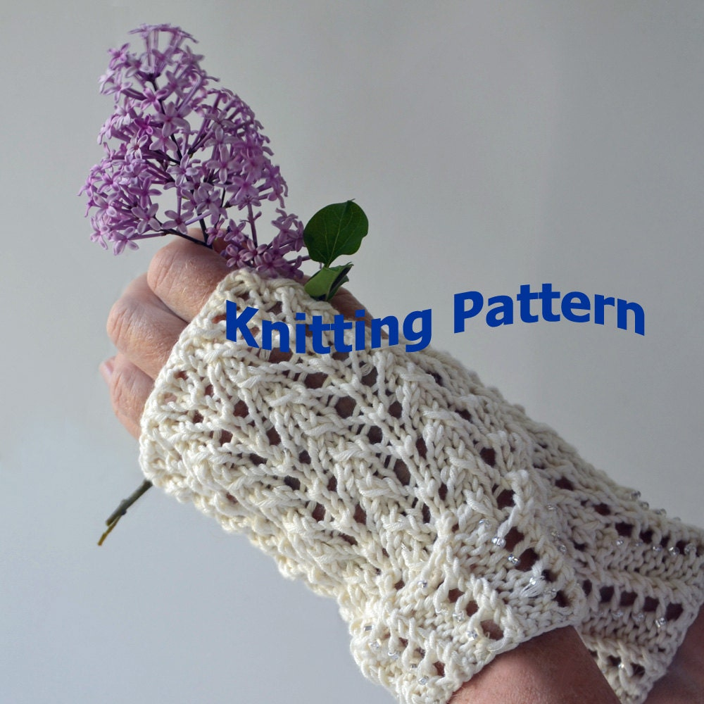 Lace Mittens Knitting Pattern : Beaded Lace Fingerless Gloves Knitting Pattern
