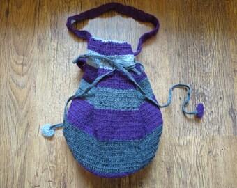 Handmade Crochet Bag Tote grey and purple stripes