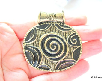 Tribal Black and Bronze Pendant Necklace