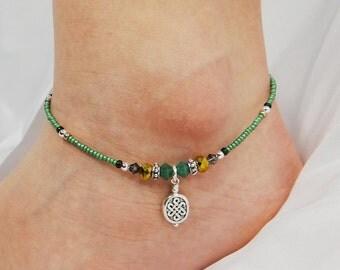 Anklet, Ankle Bracelet, Celtic Anklet, Irish Anklet, Green Anklet, Celtic Jewelry Irish Jewelry St Patricks Day Crystal Anklet Ankle Jewelry