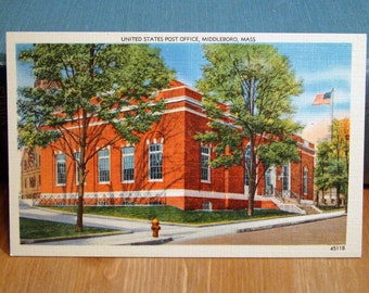 Vintage Postcard, Post Office, Middleboro, Massachusetts,1940s Linen Paper Ephemera