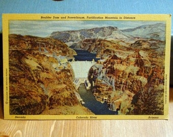 Vintage Postcard, Boulder Dam and Powerhouse, Hoover Dam, Nevada 1930s Linen Paper Ephemera