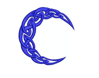 Machine Embroidery Design Instant Download - Celtic Knotwork Moon 1