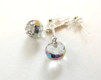 Disco Ball Earrings, Crystal Earrings, Fashion Jewelry, Dangle Earrings. A277
