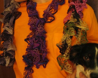 CROCHETED RUFFLE SCARF 108 inches long.