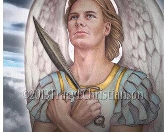 St. Michael the Archangel Art Print Catholic Patron Saint  Free Shipping #4143