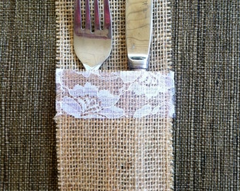 Burlap and Lace Utensil Holder/ Silverware Holder/ Wedding Decoration