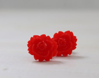Red Rose Plugs Size 4g 2g 0g 00g Custom Gauges for Stretched Ears in Size 4 2 0 or 00