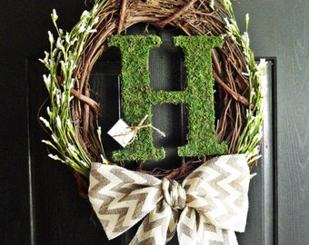 Chevron Burlap, White Wildflower Buds, and Moss Monogram Wreath for Spring and Summer or Wedding