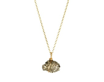 Tiny crystal necklace - rock necklace - pyrite necklace - mineral - A tiny raw pyrite nugget wire wrapped onto a 14k gold vermeil chain