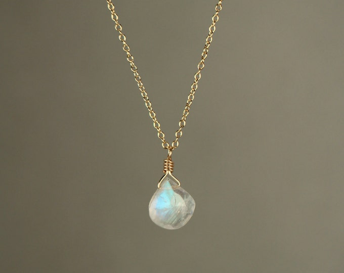 Featured listing image: Moonstone necklace - rainbow moonstone necklace - dainty and delicate -  A tiny teardrop moostone on a 14k gold vermeil chain