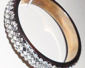 vintage bracelet bangle black fashion rhinestone encrusted