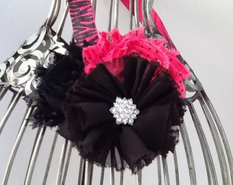 Hot pink headband, pink and black zebra headband, black hair flower, pink hair accessory, girls headband, baby headband, flower headband