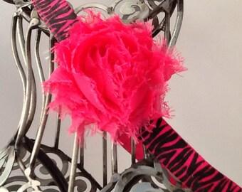 Hot pink and black headband, hot pink shabby chic flower on a black and pink zebra band, girls headband, baby headband hair accessory.