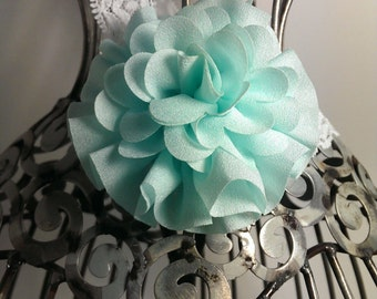 Mint green headband, flower and lace headband, mint hair flower, mint flower on a lace headband, mint hair accessory, girls headband