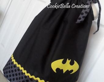 Batman/Batgirl Black & Yellow Polka Dot Pillowcase Dress