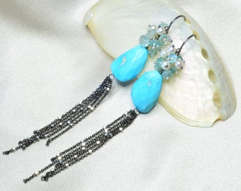 Natural Sleeping Beauty Turquoise Silver Tassel Earrings with Blue Zircon and Freshwater Pearl