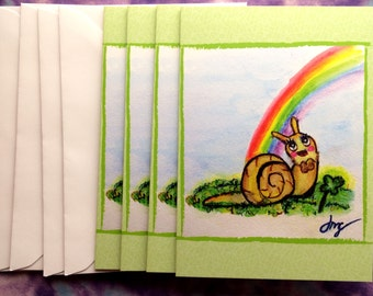 Lucky Snail Greeting Cards - St. Patrick's Day, Good Luck, Shamrock, Clover - 4-Pack