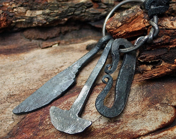Forged Iron Handmade Vikings Knife Hammer Fire Striker Tool Set Pendant Necklace Larp Jewelry