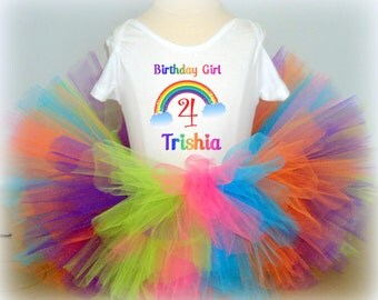 Rainbow Birthday Tutu Set - Any Name and Age