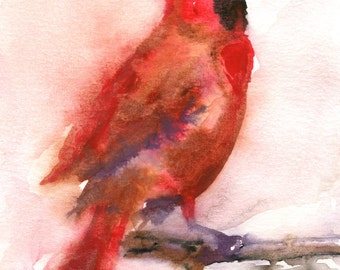 Cardinal Painting - LARGE print 13x19 or 16x20  - Bird Art - Cardinal watercolor - Holiday Painting - Painting of Bird - Red Cardinal
