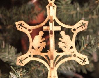 Gold 3D Praying Cowboy Snowflake Christmas Ornament