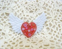 White Winged Red Heart With Flowers On The Inside Of It Hair Clip, Barrett, Hair Clip