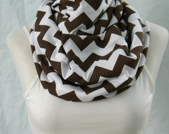 The Brown & White Chevron Infinity Scarf - Jersey Knit Cowl -