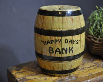 Antique metal toy bank, vintage coin bank, collectable bank, bank barrel, Great bank to add to a collection, #1242