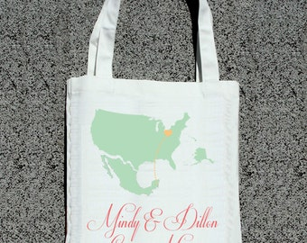 Destination Wedding Map Two Locations- Wedding Welcome Tote Bag