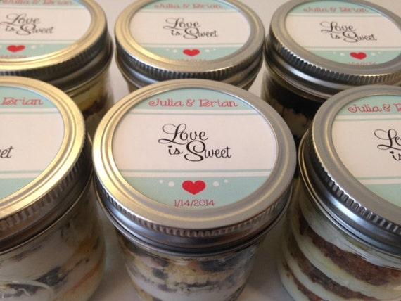 6 (8oz) Cupcakes In A Jar-Mason Jars-Wedding Favors-Favors-Bridal Shower Favors-Wedding-Bridal Shower-Love Is Sweet-Hotel Guest Bag