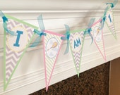 I AM 1 Highchair 1st Birthday Pennant Flag Banner - Oh The Places You'll Go Inspired - Pastel Purple Chevron Green Stripes Yellow & Blue