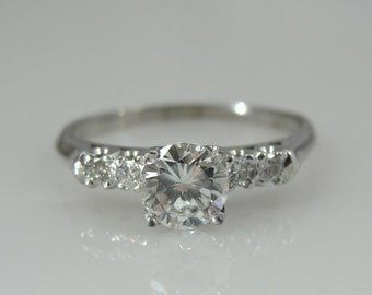 Classic and Timeless 14K White Gold and Diamond Vintage Engagement Ring YVFAL4-D