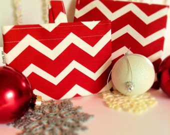 Reusable Sandwich Bag & Snack Bag Set - Red Chevron - Personalized Gift - Christmas - ECO friendly - Stocking Stuffer - Santa Gift