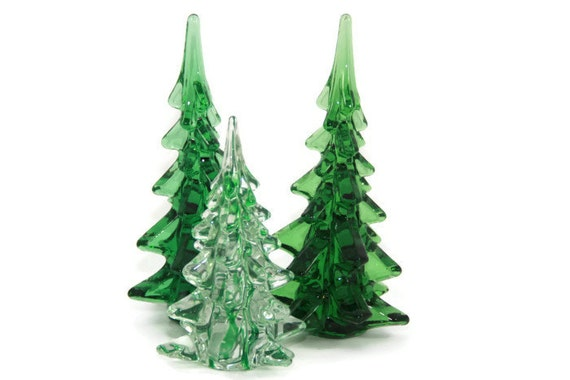 Art Glass Christmas Trees Green And Clear Glass By