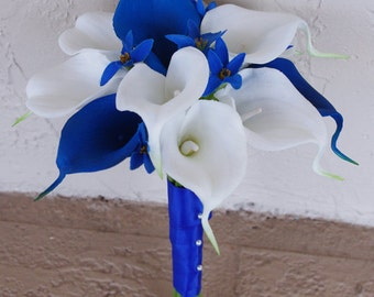 Silk Wedding Bouquet with Blue and White Calla Lilies - Natural Touch Callas Silk Bridal Flowers