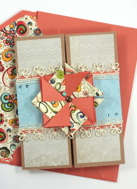 Get Well Gift Card - Folded Birthday Geometric Medallion for Summer