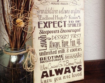 Grandparent's Rules Sign, Grandparents House, Personalized Rules, Gift for Grandparents, From Grandkids