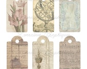 Vintage Shabby Chic Digital Gift Tags JPG and PNG