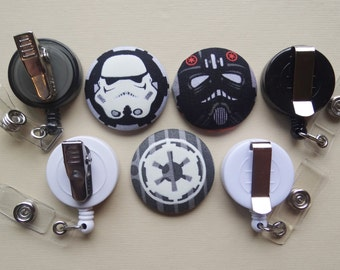 Retractable Badge Holder - Fabric Covered Button - The Buttons Strike Back! (Star Wars)