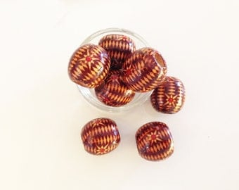 Large Wood Beads, 9 Pieces, Earthy Colors, Rustic Pattern, 23 mm Round, Bead Jewelry Findings