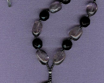 Kidney Stone - Banded Agate, Black Agate, Amethyst, Hematite, Stelring Silver Necklace