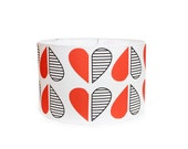 Modern Lamp Shade - Red and Black Hearts - Choose Your Size