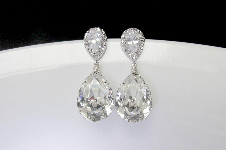 swarovski cz bridal earrings zirconia drop bridal earring