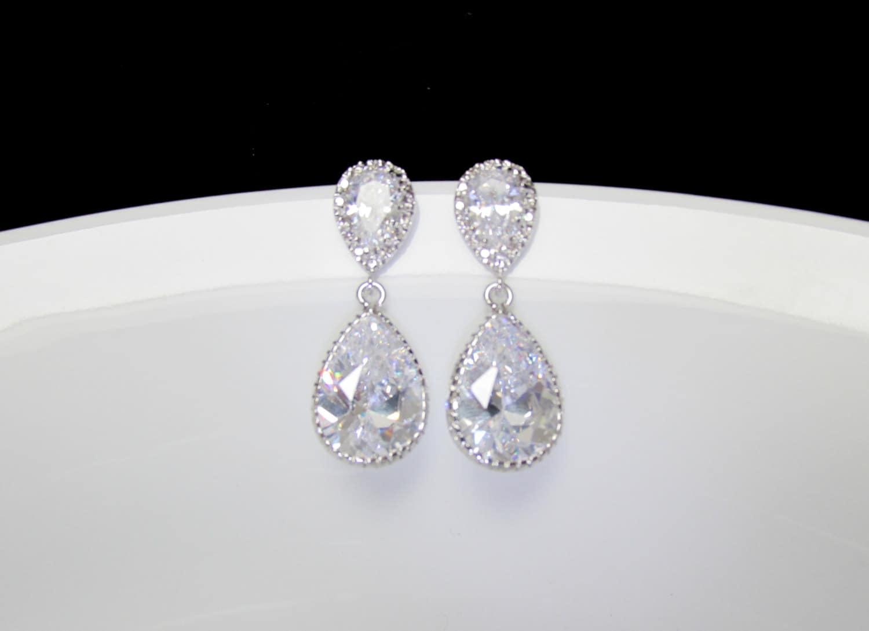 Bridal Drop Earrings Pear Drop Earrings CZ Bride Earrings