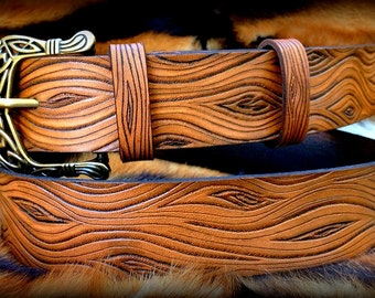 Wooden look leather belt - hand tooled leather belt with Celtic buckle - Stylish gift for ages