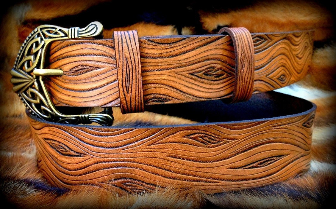 Wooden look leather belt hand tooled with