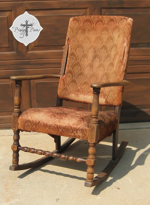 custom antique vintage upholstered rocking chair reserved. Black Bedroom Furniture Sets. Home Design Ideas
