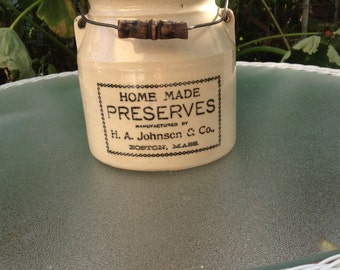 Homemade Preserves H. A. Johnson & Company Boston, MA Crock